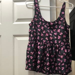 Babydoll tank with pink flowers